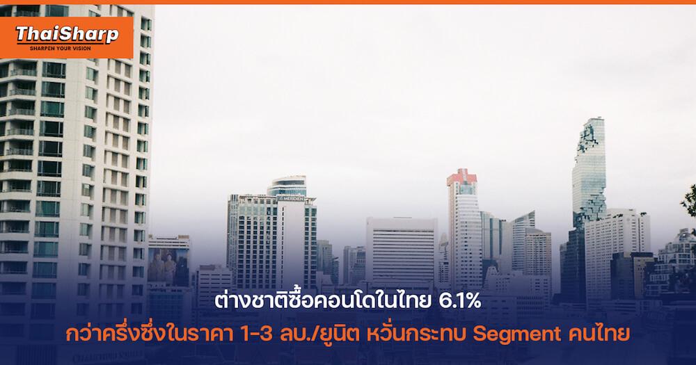 ต่างชาติซื้อคอนโดในไทย 6.1% หวั่นแย่ง Segment ในกลุ่ม Budget และ Middle Class